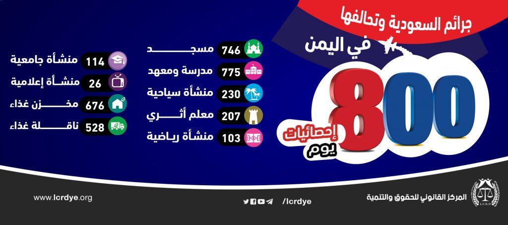 إحصائية 800 يوم من جرائم السعودية وتحالفها في اليمن