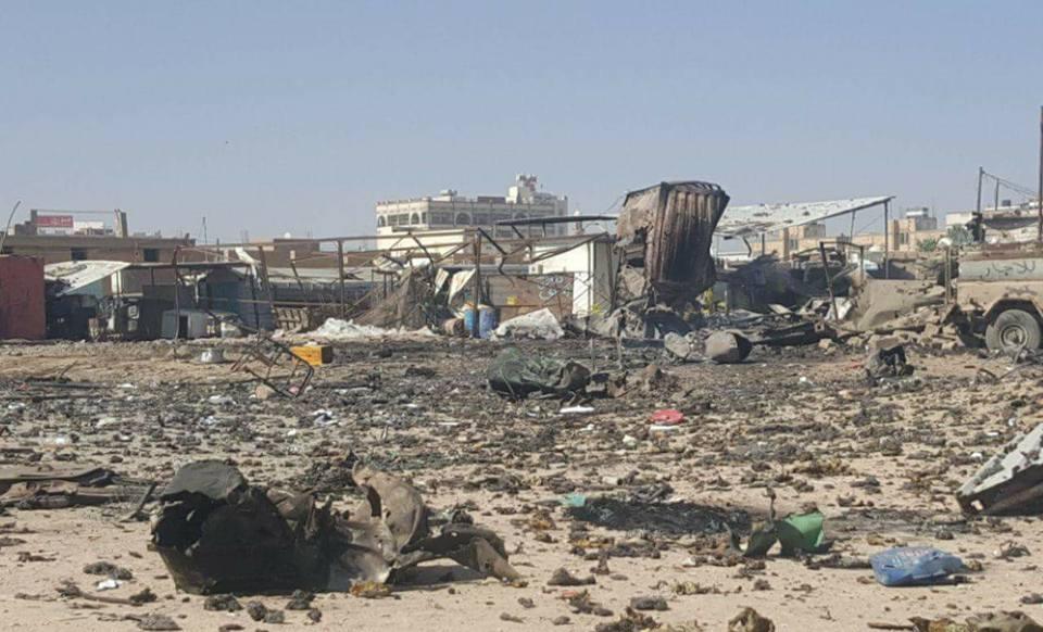 جزء من الدمار الذي خلفته غارات طيران العدوان الإجرامي في سوق جياش للخضروات بمدينة صعدة.111