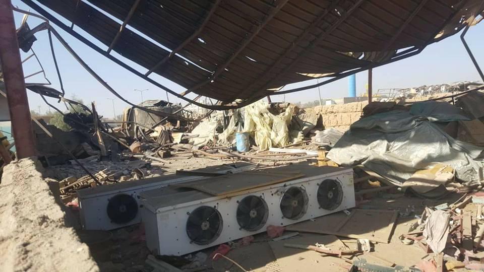 جزء من الدمار الذي خلفته غارات طيران العدوان الإجرامي في سوق جياش للخضروات بمدينة صعدة.3