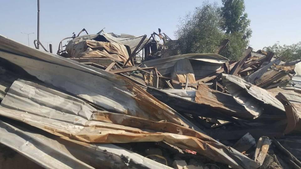 جزء من الدمار الذي خلفته غارات طيران العدوان الإجرامي في سوق جياش للخضروات بمدينة صعدة.4