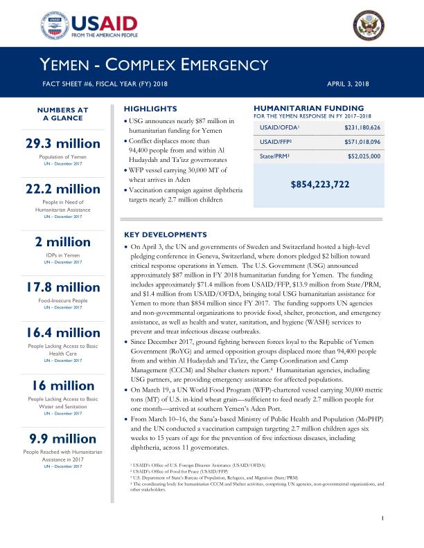 1071254-04.03.18 – USG Yemen Complex Emergency Fact Sheet #6